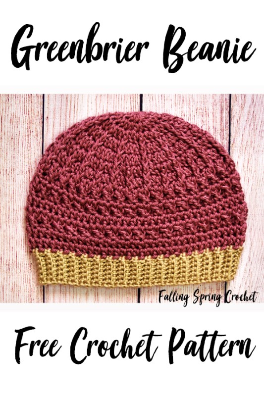 Falling Spring Crochet Greenbrier Beanie Crochet Pattern Image for Pinterest