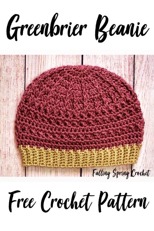Falling Spring Crochet Greenbrier Beanie Crochet Pattern Image for Pinterest
