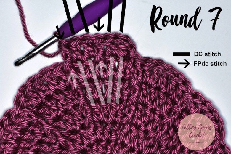 This image shows where you will be placing each stitch in Round 7 of the Greenbrier Beanie