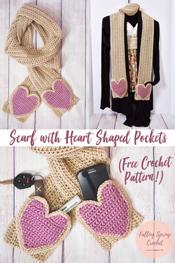 Falling Spring Crochet Scarf with Heart Shaped Pockets Crochet Pattern Main Image