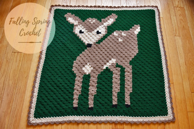 Falling Spring Crochet Fawn Corner to Corner Baby Blanket Blog Image