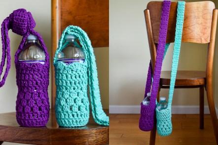 Falling Spring Crochet Water Bottle Sling Crochet Pattern Featured Image