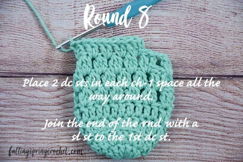 Falling Spring Crochet Water Bottle Sling Crochet Pattern Round 8