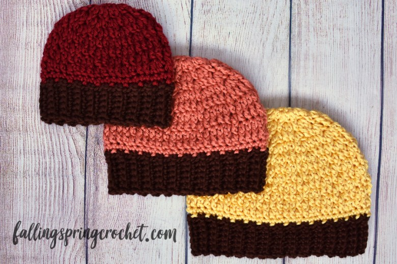 Falling Spring Crochet Fall Baby Beanie Crochet Pattern 3 Sizes