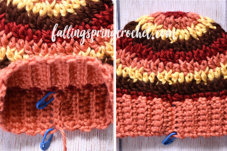 Falling Spring Crochet Fall Baby Beanie Seamed Brim