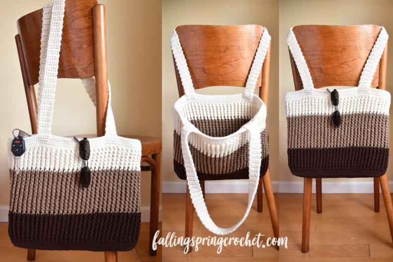 Falling Spring Crochet Easy Tote Bag Crochet Pattern Sample Image