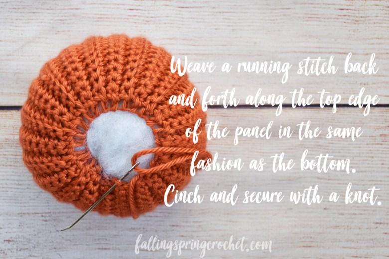 Falling Spring Crochet Easy Crochet Pumpkin Cinching the Top