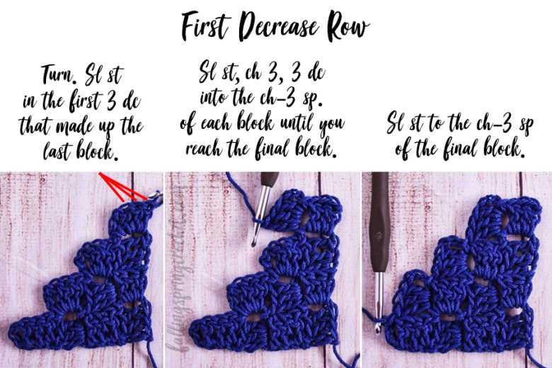 This image shows the first decrease row (Row 34) of the Cozy Corner to Corner Afghan.