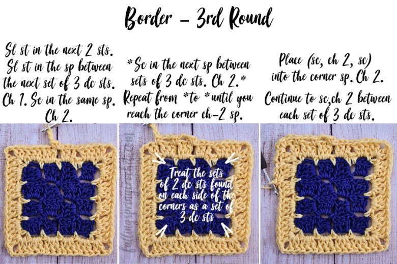 This image shows the third border round of the Cozy Corner to Corner Afghan.