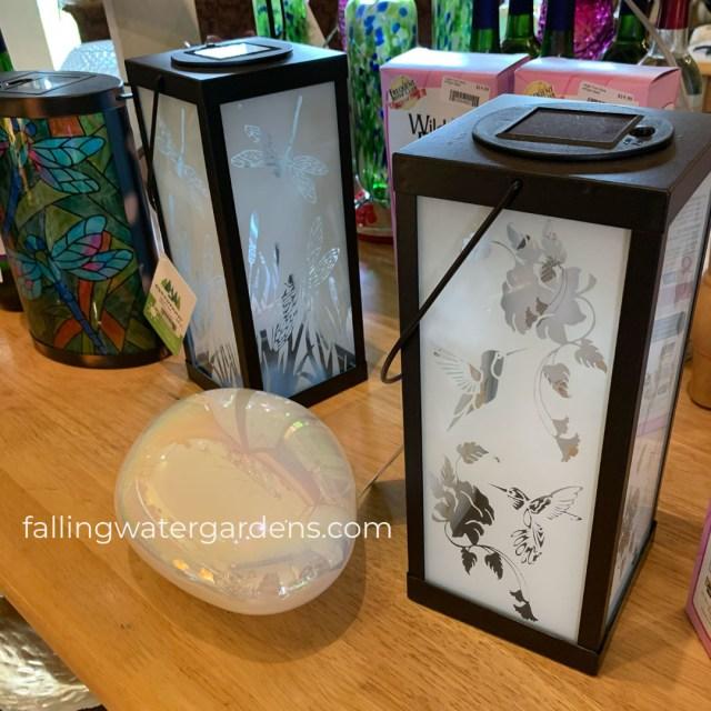 Solar Lanterns in the Gift Shop at Falling Water Gardens in Monroe Washington