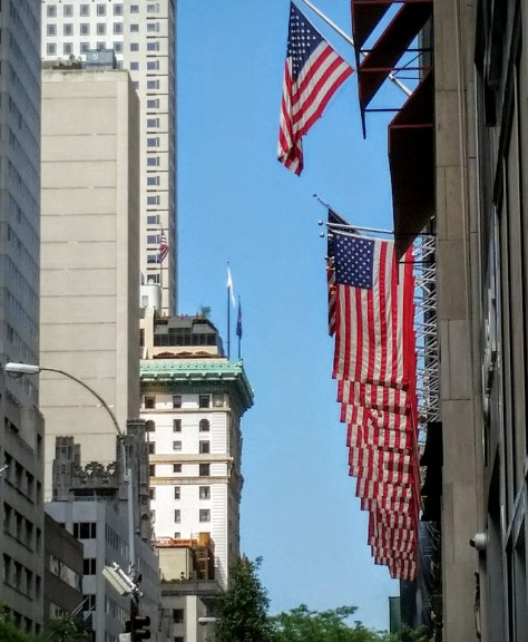 Flags up Fifth Avenue.
