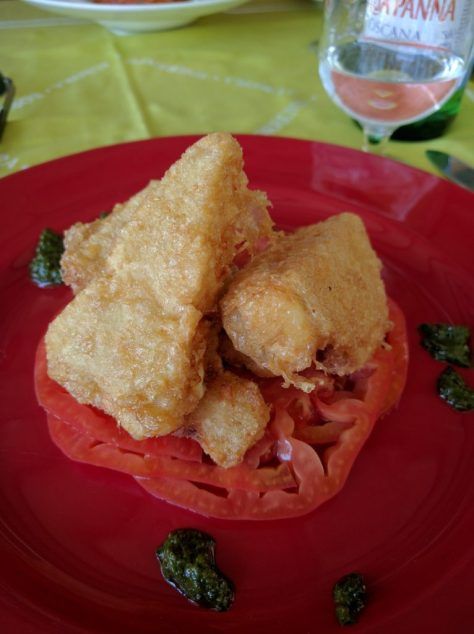 Jason's tomatos topped with fried cheese. photo by Kat