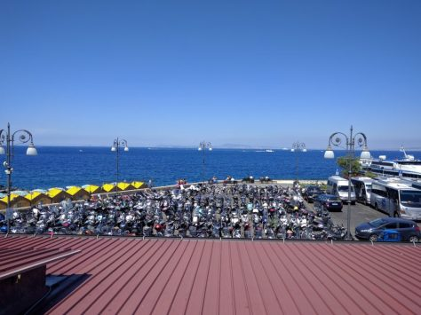 From BW: Motor bike parking in Sorrento marina.  Photo by j a-b.