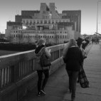 Crossing Vauxhall bridge next to the MI6 building!
