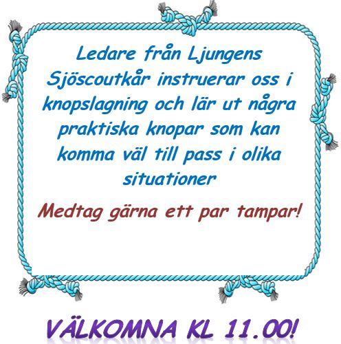 Välkommen på söndagsfika 14/4, gäst är Ljungens Sjöscoutkår