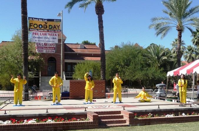 Demonstrating Falun Gong exercises at UA International Festival