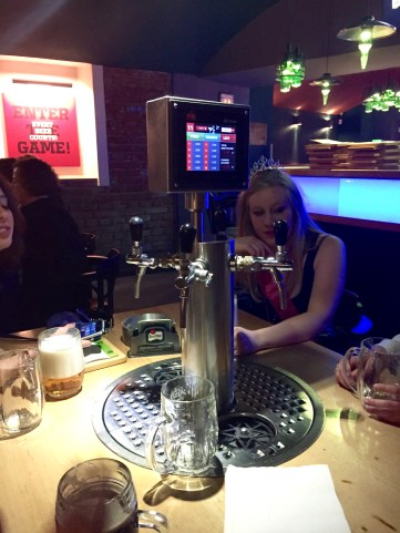 Our table at The Pub that lets you pour your own beer and keeps track of how much you drink.