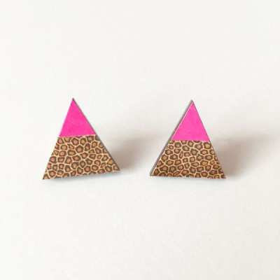 Neon Geometric Jewelry Inspiration ~ Pink Triangle Leopard Earrings