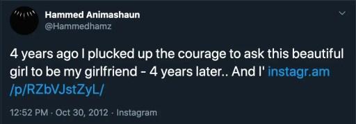 Hammed Animashaun girlfriend Tweet
