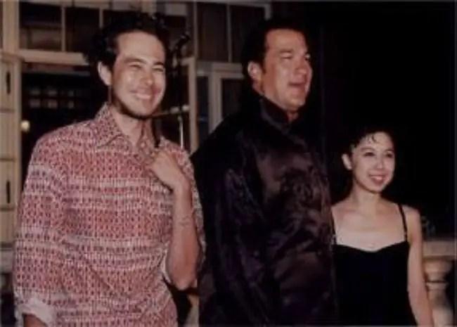 Steven Seagal with his children Kentaro and Ayako