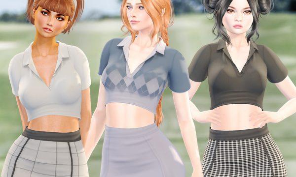 Birdie Top & Fairway Skirt. ★  Birdie Top, L$200 per color / Fatpack is L$600.  Fairway Skirt, L$200 per color / Fatpack is L$600.