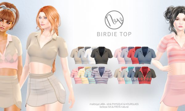 Birdie Top. ★ L$200 per color / Fatpack is L$600.