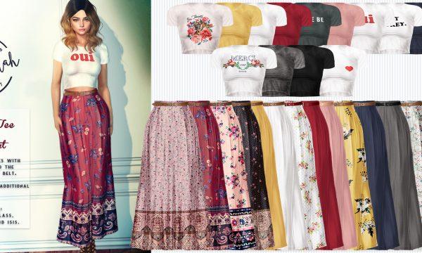 Crop Tee & Maxi Skirt. ★ Tee: L$230 per single / Fatpack is L$1,300. Skirt: L$230 per single / Fatpack is L$1,300.