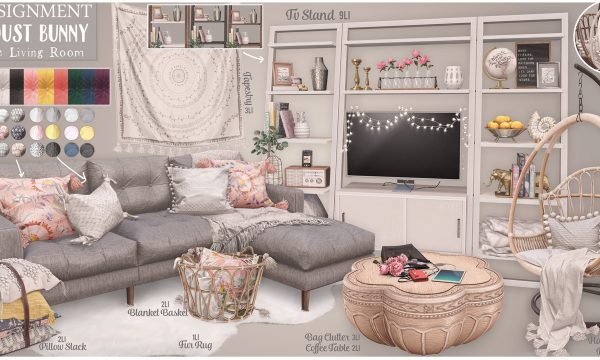 Gracie Living Room. Fur Rug is L$125 / Table is L$160 / Bag Clutter is L$125 / Pillow Stack is L$125 / Basket is L$150 / Lamp is L$75 / Tapestry is L$135 / TV Stand is L$450. PG Fatpack is L$2,400 & Adult Fatpack is L$2,800.