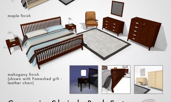Sleigh Bed Set. L$800.