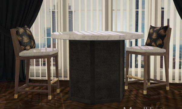 Deja Bar Set. Table is L$225 each / Stool is L$375 each / Table Fatpack is L$450 / Stool Fatpack is L$750 / Complete Fatpack is L$995.