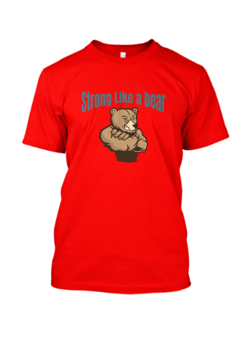 strong like a bear Famfabrix design red