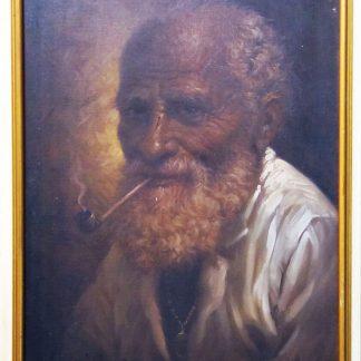 """José Quirino, """"Ancião com cachimbo"""", óleo s/ tela"""