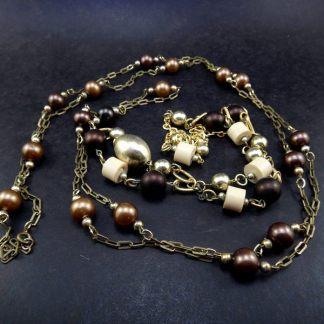 Bijoux, Colar duo bronze e branco/dourado étnico, Fashion Itália anos 70