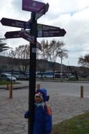 San Martin de Los Andes. Na placa, a direção para o Brasil