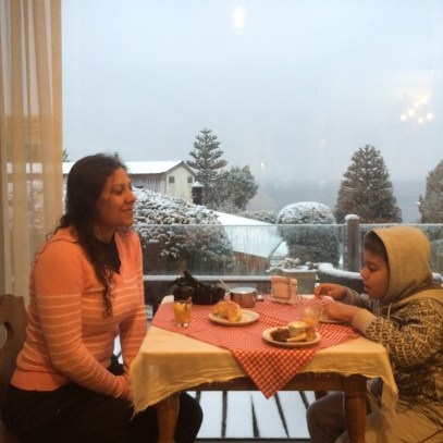 Café com vista pra neve