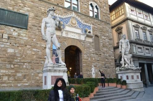 Réplica do Davi na frente do Palazzo Vecchio