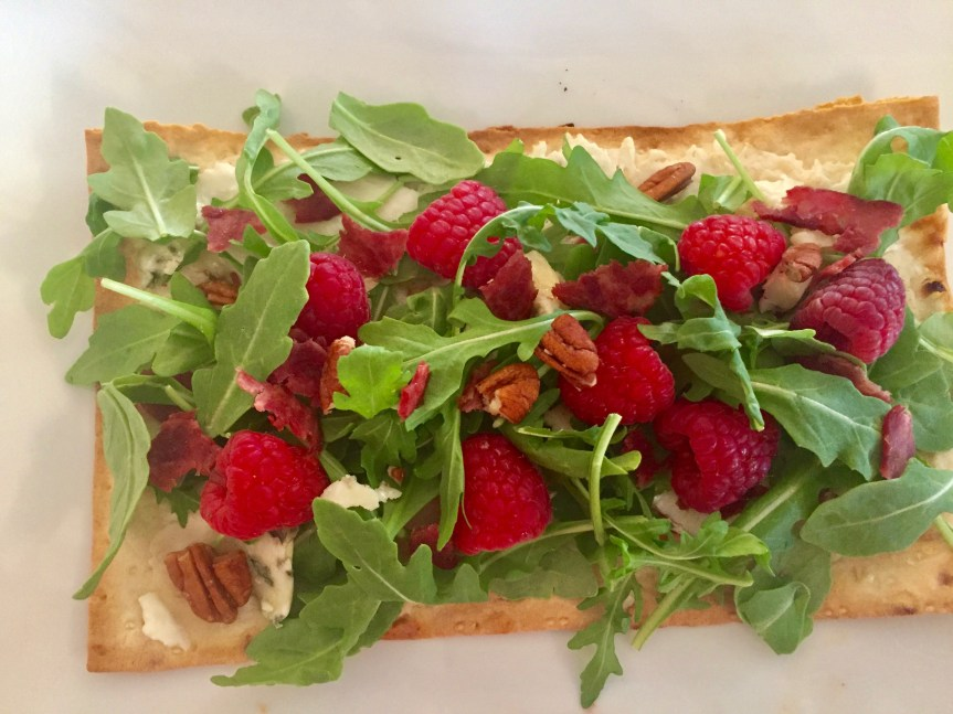 Flatbread with Chèvre Raspberries Bacon