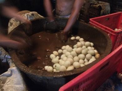 """(2) """"Pagtubog"""" (Ingredients: Putik/mud, water, salt) Eggs are soaked in putik with brine salt"""
