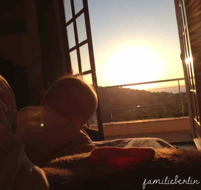Sonnenaufgang, Urlaub mit Kleinkind, Baby, Ferienwohnung