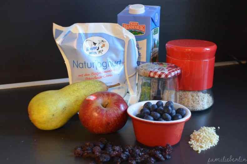 Rezept; Birchermuesli, Dessert, Dessert im Glas, Gesund, Joghurt, Haferflocken, Apfel, Obst