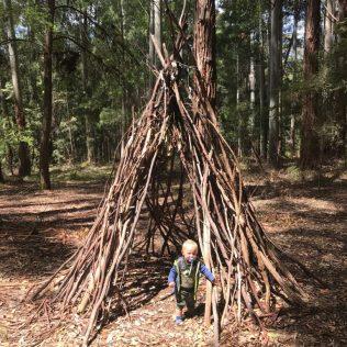 (C) Jule Reiselust: Noahs erste Waldhütte im Big Brook Aboretum.