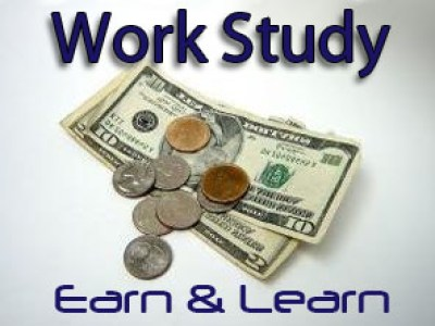 logo of work study with bills and coins