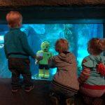 Tre børn kigger på et akvarie med en legomand i