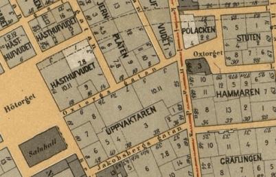 Oxtorgsgatan 1899. Numera tudelas Oxtorgsgatan rakt genom Michaëls dåvarande butik, og västliga halvan har omdöpts till Hötorget.