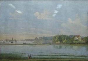 Kasens Värdshus vid Vassbotten, målat av F.A. Zettergren ca. 1867. Bohusläns Museum.