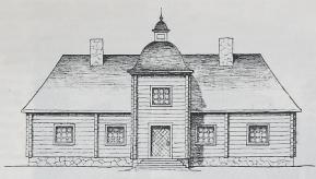 Rekonstruktion av Christer Lillies Liljeholmen. Teckning av Arvid Hjelmquist efter skiss av Per Olof Nisser.