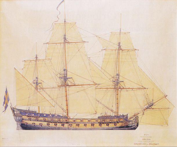 Göta Lejon, sjösatt 1746. Målning av Jacob Hägg 1745.