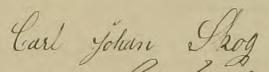 Carl Johans namnteckning 1884 när hustrun dött.