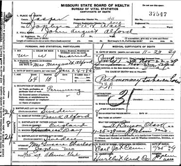 John August Alfords död 1929. Dödsattesten innehåller åtskilliga fel. Källa: Sos.mo.gov.