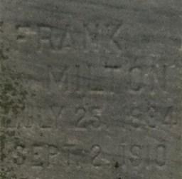Frank Miltons grav på Carl Junction Cemetery. Källa: Findagrave.com.